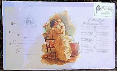 """Vintage Birth Announcement Old Print Factory Sealed 11 x 19"""" Stone Lithograph"""