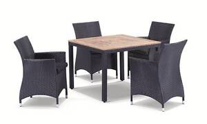Bali Square Wheat Colour Wicker Teak Timber Table + 4 Cane Chairs Terrey Hills Warringah Area Preview