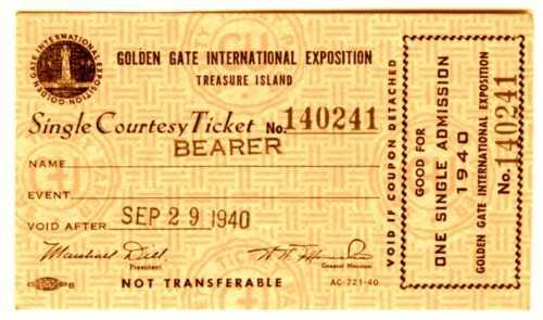 1940 GGIE SAN FRANCISCO GOLDEN GATE EXPOSITION~RARE WORLD FAIR ADMISSION TICKET