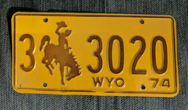 Original 1974 Wyoming License Plate