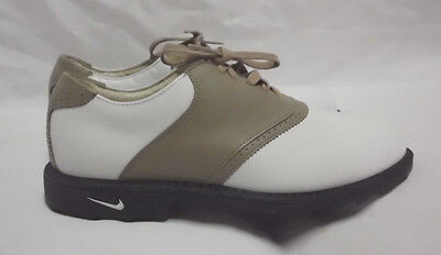 Nike Air Accel Golf Shoes Size 6.5 M NIB White Taupe Leather With Cleats 2000