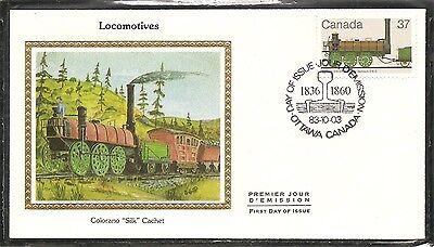 Canada SC # 1001  Locomotives. Samson 0-6-0 FDC . Colorano Silk Cachet.