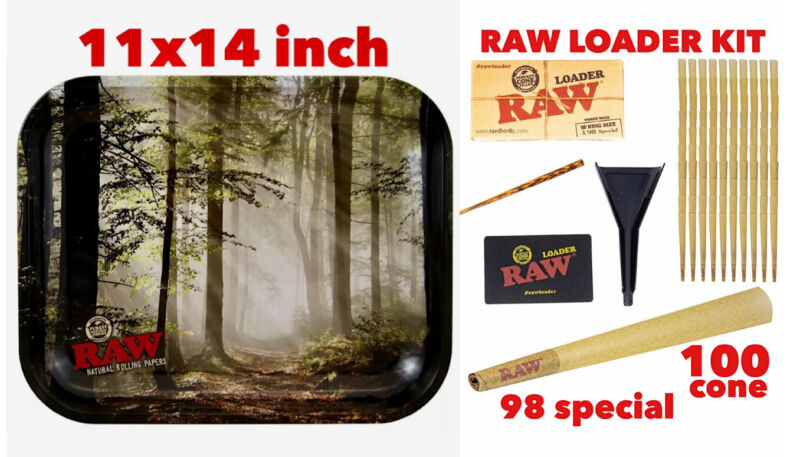 raw metal tray(FOREST)LARGE+raw 98 special size cone(100 pack)+cone loader kit