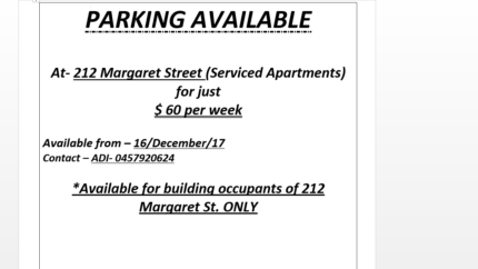 Car Parking for occupants of 212 Margaret Street