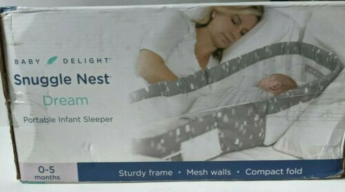 Baby Delight Snuggle Nest Dream Portable Infant Sleeper Gray White New in Box
