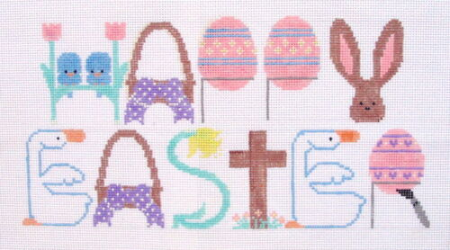 Happy Easter Hand Painted Needlepoint Canvas