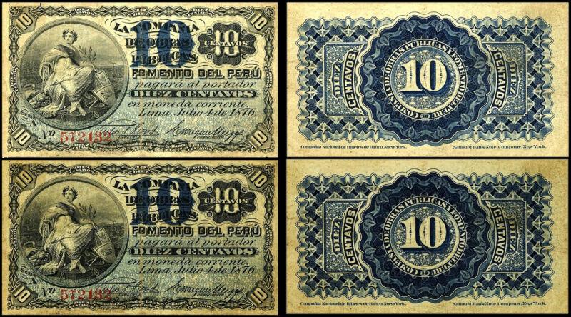!COPY! 2 PERU 10 CENTAVOS 1876 BANKNOTES !NOT REAL!