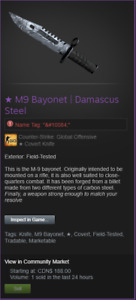 ★ M9 Bayonet | Damascus Steel FT (CSGO SKIN)