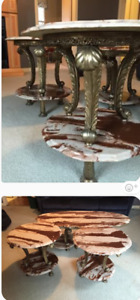 Vintage marble coffee table and end Table set
