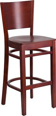Solid Back Mahogany Wooden Restaurant Barstool - Commercial Quality Bar Stool