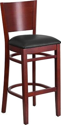 Solid Back Mahogany Wooden Restaurant Barstool With Black Vinyl Seat