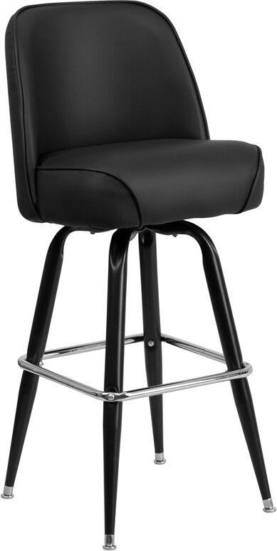 Metal Frame Black Vinyl Swivel Bucket Seat Bar Stool
