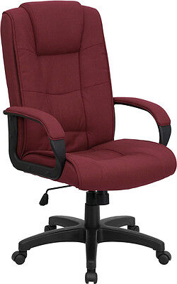 High Back Burgundy Fabric Computer Office Desk Chair