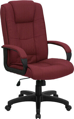 High Back Burgundy Fabric Executive Office Desk Chair W Built-in Lumbar Support