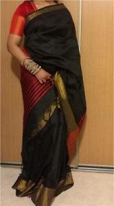 Pure raw silk hand loomed saree