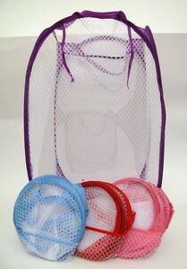 LOT-of-3-New-Pop-Up-Foldable-Storage-Laundry-Hamper-Toys-Clothes-Aid-Mesh-Basket