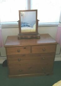 Pine Chest of Drawer and Mirror