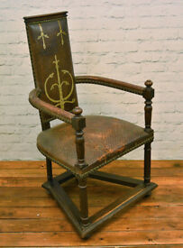 Antique Church gothic throne chair wooden desk vintage leather industrial interior decor armchair