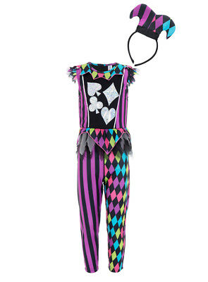 Halloween Girls Jester Harlequin All in one Fancy Dress Dressing up Costume - All Halloween Costumes For Girls