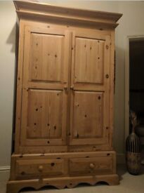 Large custom made solid pine wood two door wardrobe with drawers matching bedside table