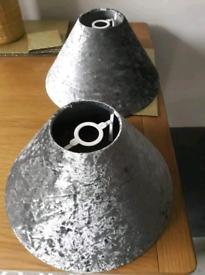 Grey brushed velvet lampshades