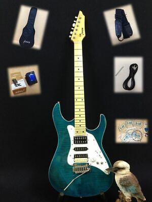 Haze Aqua-Blue Double Cutaway Electric Guitar w/Flame Maple Veneer+Free Gig Bag