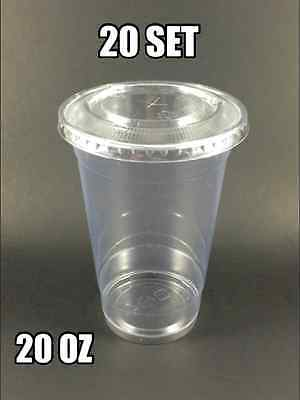 Pack Of 20 Plastic Clear 20 Oz Pet Cup With Flat Lid And Straw Slot Bubble Boba