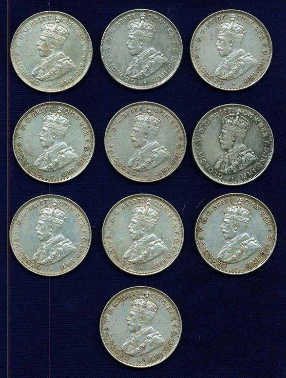 AUSTRALIA  GEORGE V  1936  1 FLORIN SILVER COINS  (10), VF  to XF