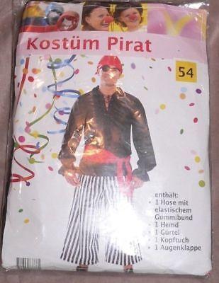 Piratenkostüm Herren schwarz Pirat Freibeuter Seerüber Karneval Fasching Gr.54