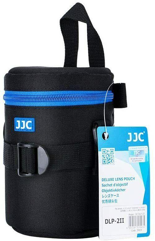 JJC DLP-2II Medium - Water Resistant Lens Pouch w/Shoulder Strap - Black & Blue