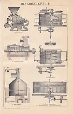 Bierbrauerei Brauerei Bier Sudhaus HOLZSTICHE + Text von 1898 Maismaschine