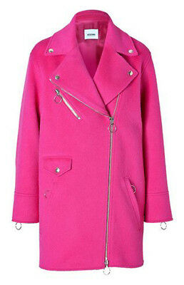 [Moschino] Cheap & Chic Alpaca-Wool Blend Biker-Style Coat in Fuchsia IT 42 NEW