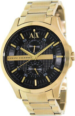 ARMANI EXCHANGE AUTHENTIC MEN'S SS BLACK FACE GOLD TONE BAND  WATCH,AX2122 NIB,