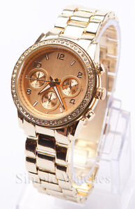 Womens Round Bracelet Watch Ladies Fashion Gold Silver Rose Black Designer Style