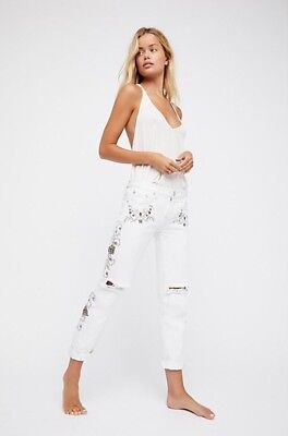 New One Teaspoon For Free People Lola Embroider Awesome Baggies Boyfriend Jeans