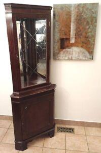 Beautiful Mahogany Corner Display Unit