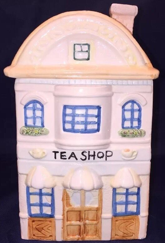 """Colorful Ceramic """"Tea Shop"""" Cookie, Treat Or Biscuit Jar Tall 2 Story"""