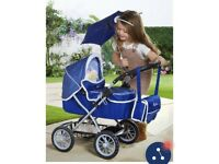 Navy silver cross dolls pushchair