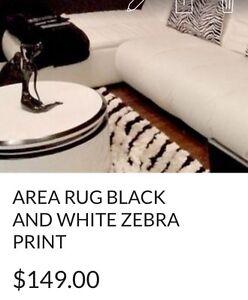 CARPET ZEBRA PRINT BLACK AND WHITE RUG
