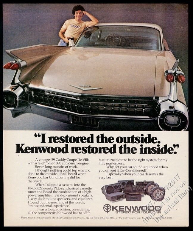 1982 1959 Cadillac Coupe DeVille color photo Kenwood car stereo vintage ad