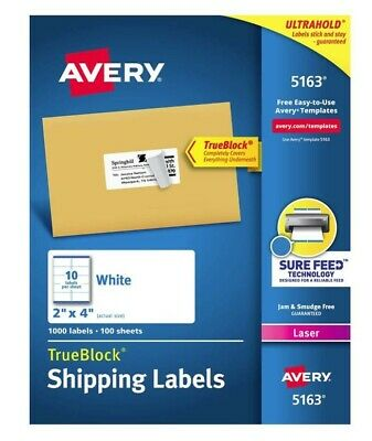Avery-5163 Shipping Address Labels Size 2 X 4 4 Sheets. 40 Labels.