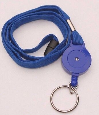 Blue Retractable Lanyard Reel Inc Metal Split Ring With Safety Breakaway