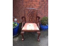 Chippendale Style Elbow Chair with Upholstered Seat