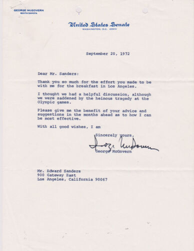 SIGNED SENATOR GEORGE McGOVERN 1972 LETTER - GREAT CONTENT!