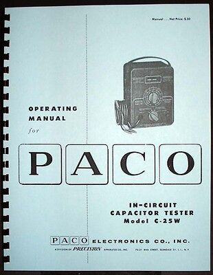 Paco C-25w C25w In-circuit Capacitor Tester Operating Manual