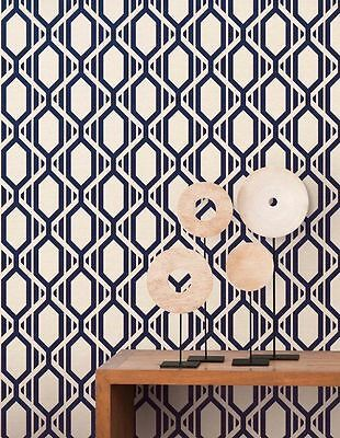 Navy Stripe Wallpaper - Geometric Cream White Navy Blue Gold Metallic Modern Stripe Patton Wallpaper
