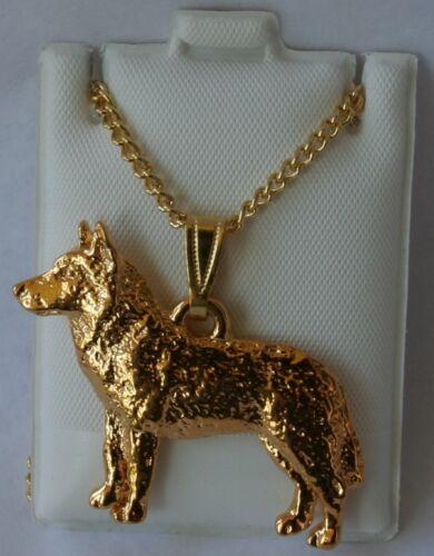 Husky Dog 24K Gold Plated Pewter Pendant Chain Necklace Set