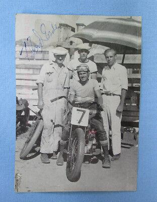 VINTAGE MOTORCYCLE DEL MAR CONCOURS POSTCARD FLOYD EMDE SIGNED INDIAN RACING '92