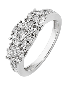 14CT WHITE GOLD DIAMOND CLUSTER RING Epping Whittlesea Area Preview