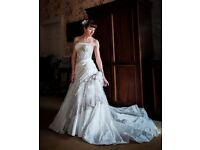 Stunning Designer Ian Stuart size 8 wedding dress with veil